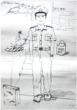 正步走唱军歌 大学生手绘肖像送别教官