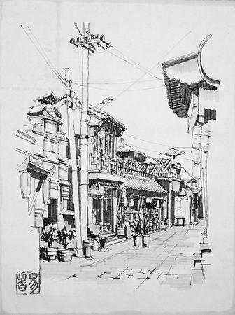 北京圆明园手绘