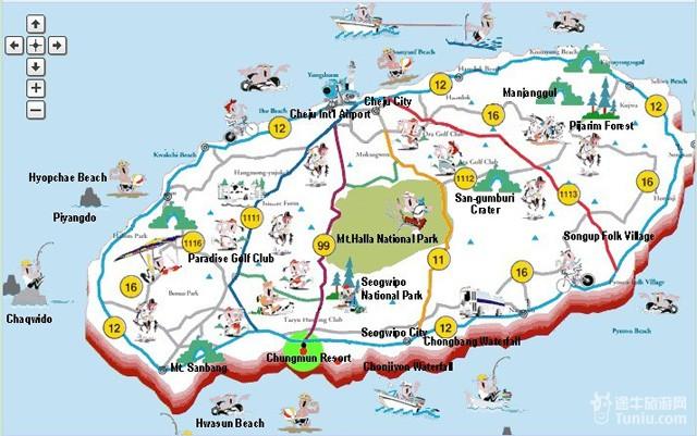 济州岛市旅游地图