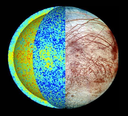 这张木卫二视图显示了冰冷木卫二全球海洋动态性仿真里的温度场,热羽流(红色部分)从海底产生,冷却的流体(蓝色)从冰-海洋边界向下沉。更多的热传递至赤道附近的冰壳,与木卫二表面混乱地形相一致。   美国国家航空航天局(NASA)26日召开电话新闻发布会,称通过哈勃天文望远镜所拍摄的图像,科学家发现了木卫二表面存在水蒸气喷泉(一种羽流喷射活动)的新证据。若这一发现被证实,未来人类可能无需钻透木卫二表面厚厚的冰层即可获得其海洋液态水的样本,其是否有生命存在的谜题或可尽早揭开。   木卫二虽比月球还要小一点,但