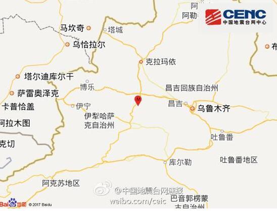 新疆塔城地区乌苏市发生3.0级地震