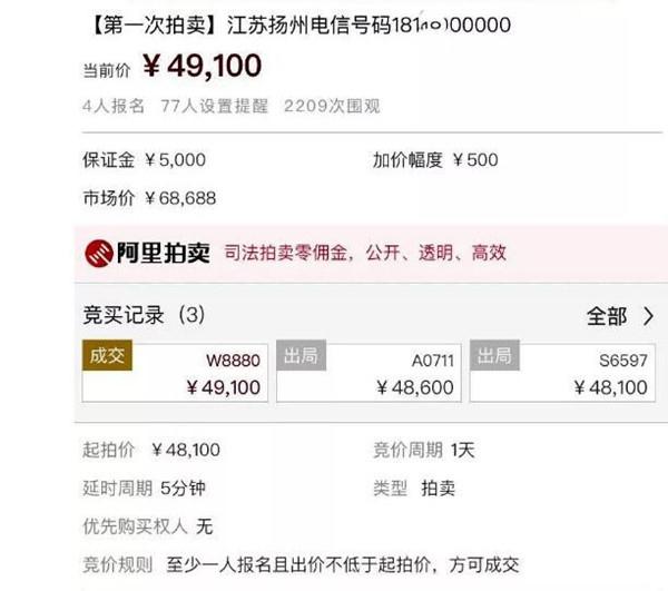 两个维护拍出近五万元高价!江苏老赖手机号创拍价之最