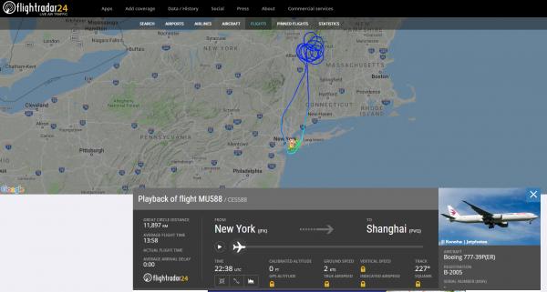 一架波音客机从纽约飞往上海,因未知原因折返