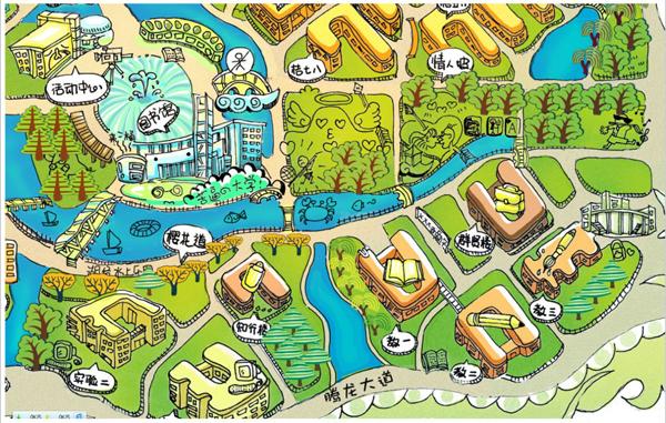 q版手绘校园地图新鲜出炉萌翻网友