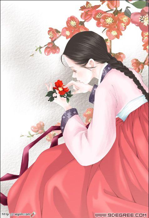 韩国古典艺术卡通插画