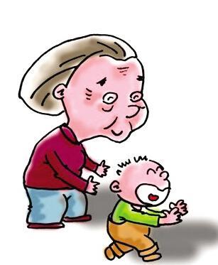 老人牵孙子 卡通