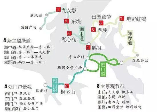 东湖绿道示意图 制图/喻峰-对不起,最近大武汉又在刷屏了 武汉人越看图片