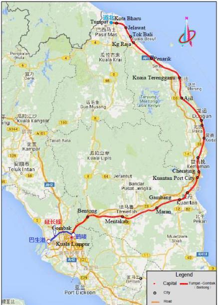 马来西亚东海岸铁路项目全线图
