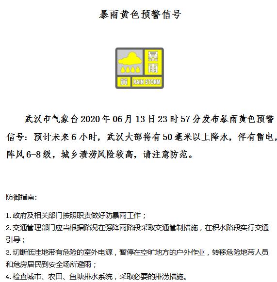 武汉市气象台发布暴雨黄色预警,武汉大部将有