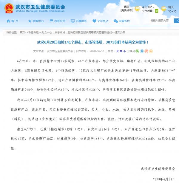 武汉6月29日抽检141个超市、市场等场所,3075份样本结果全为阴性!