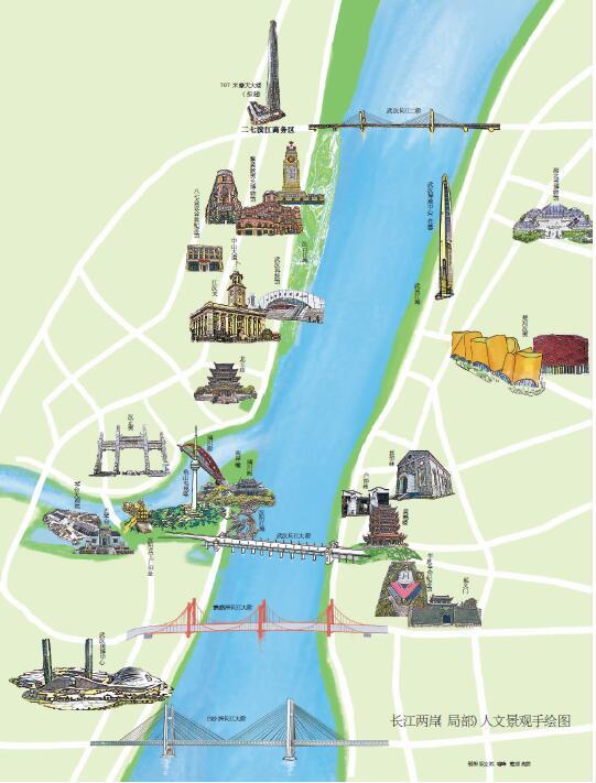 长江两岸(局部)人文景观手绘图